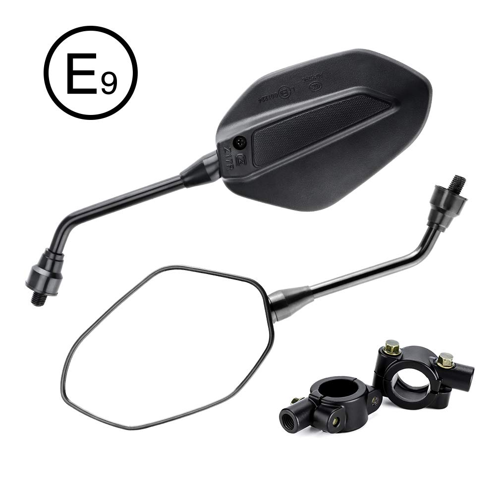 KEMIMOTO 2Pcs Universal Motorcycle Mirrors Black with 10mm Bolt, 7/8'' Handle Bar Mount Clamp Adapter M10 Convex Rearview Rear View Mirrors for Kawasaki, Suzuki, Honda, Victory, Cruiser, Scooters, BMX