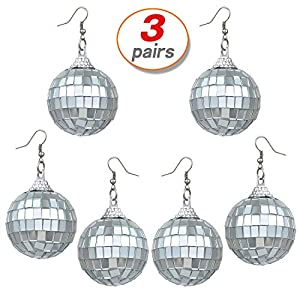 Yo-fobu 3 Pairs Disco Ball Earrings Silver Ball Earrings Women's Costume Accessories