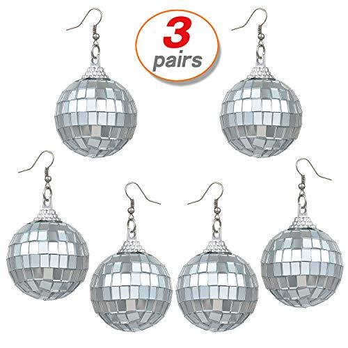 Yo-fobu 3 Pairs Disco Earrings Silver Ball Earrings Women's Costume Accessories -