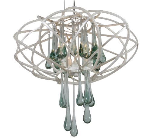 Chandelier Recycled Glass (Varaluz 151C03PE Area 51 3-Light Pendant - Pearl Finish with Recycled Glass)