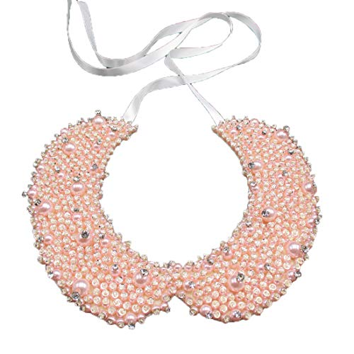 (Faux Pearl Sequin Crystal and Rhinestone Beaded Embellished Peter Pan Collar Necklace (Pink))