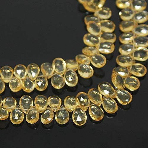 Beads Bazar Natural Beautiful jewellery 5 Strands Citrine Golden Faceted Briolette Pear Drop Gemstone Craft Loose Beads 8