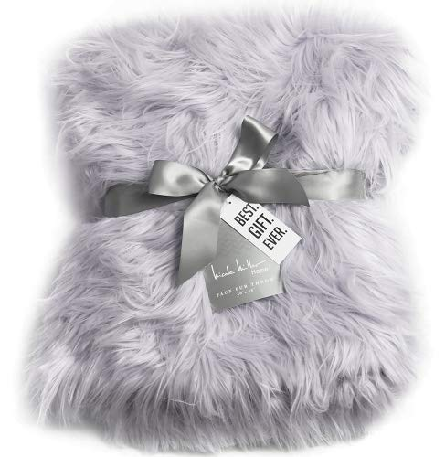 - Nicole Miller Light Grey Luxury Mongolian Lamb Wool Faux Fur High Low Throw Blanket Straight Long Hair Plush Lush Artificial Pale Gray Fur