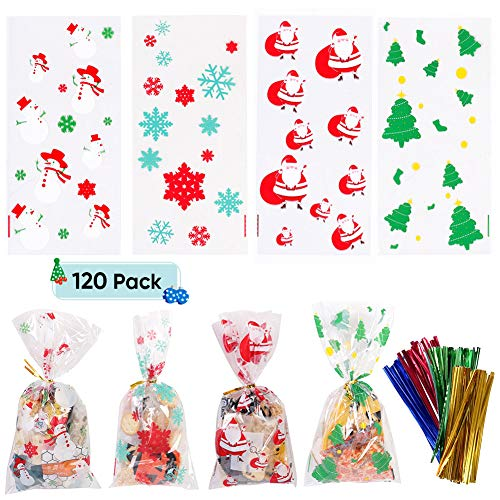 120 Pack Christmas Cellophane Bags Christmas Treat Bags with Twist Ties for Cookie Candy Christmas Party Supplies (Christmas Party Food)