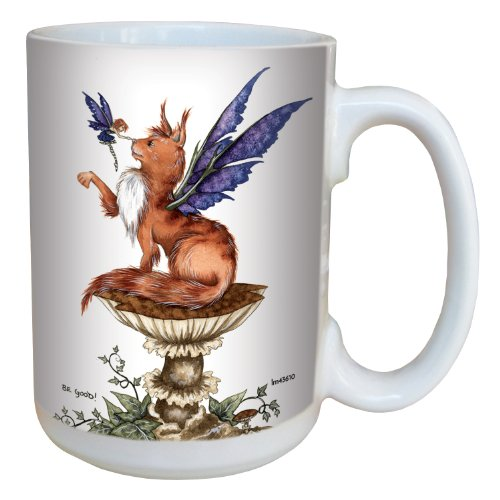 (Tree-Free Greetings lm43610 Fantasy Be Good Cat and Fairy Ceramic Mug with Full Sized Handle by Amy Brown, 15-Ounce )