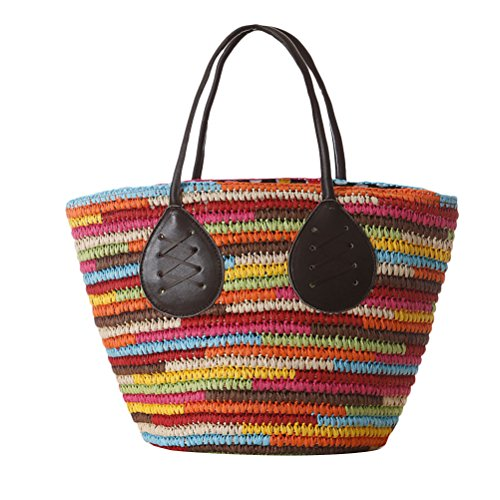 Zhhlaixing Casual Rainbow Striped Mixed Shoulder Bags Weaving Beach Bags Handbags Bolsa hermosa especial for Womens