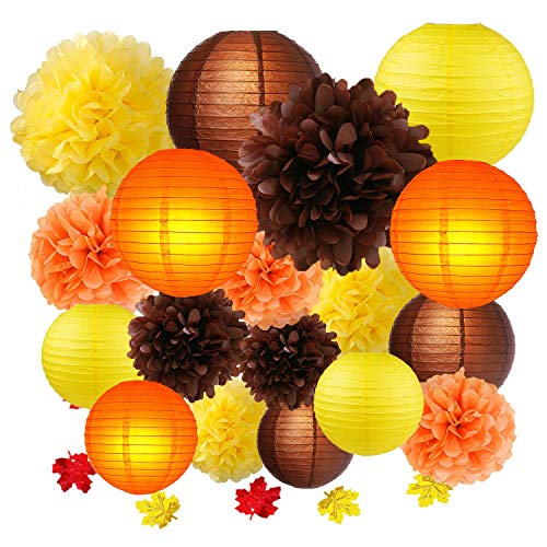 Thanksgiving Party Decoration kit, Fall Harvest Yellow Orange Brown Hanging Tissue Paper Pom poms Paper Lanterns, Autumn Confetti Table Decorate Baby Shower Wedding Birthday Party Supply -