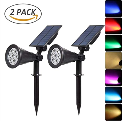 Luces LED solares (paquete de 2) Proyector para exteriores con ...