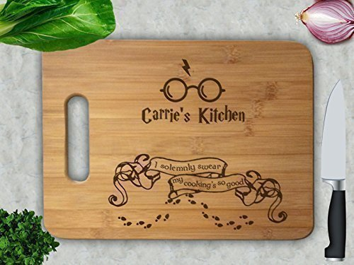 I Solemnly Swear, My Cooking's So Good Personalized Kitchen Cutting Board