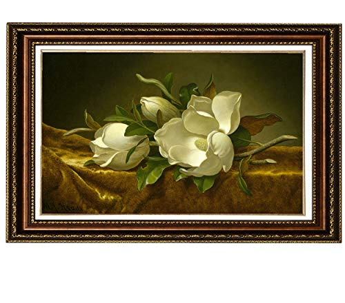 (Eliteart-Magnolias on Gold Velvet Cloth by Martin Johnson Heade Oil Painting Reproduction Giclee Wall Art Canvas Prints Framed(sf806M), Framed Size:25