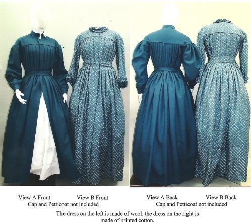 Victorian Era Dress Costume (1840's—1860's Pleated Wrapper, Morning Gown, Work or Maternity Dress Pattern)