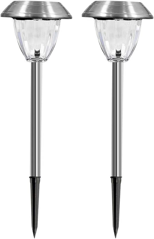 TWINSLUXES Solar Pathway Lights Outdoor Stainless Steel Grass Light Glass Lamp Waterproof Metal Garden Walkway Lights LED Landscape Lighting for Pathway, Sidewalk, Lawn, Patio, Yard 2 Pack