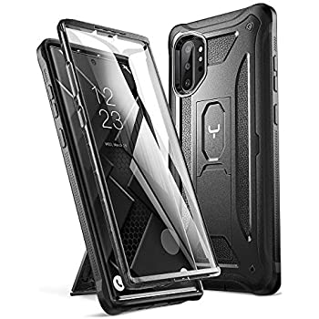 YOUMAKER Case for Galaxy Note 10 Plus, Built-in Screen Protector Work with Fingerprint ID Kickstand Full Body Heavy Duty Shockproof Cover for Samsung Galaxy Note 10 Plus 6.8 Inch (2019) - Black