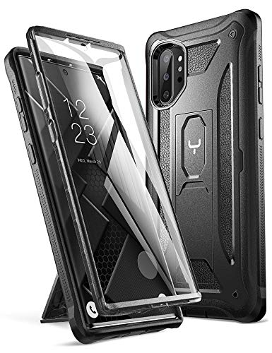 YOUMAKER Case for Galaxy Note 10 Plus, Built-in Screen Protector Work with Fingerprint ID Kickstand Full Body Heavy Duty Shockproof Cover for Samsung Galaxy Note 10 Plus 6.8 Inch (2019) - Black (Note Cases Shipping Free)