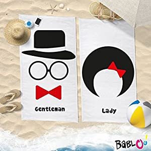 Babloo Coppia di Teli Mare Love You And Me Lady And Gentleman -70x100- 2 spesavip