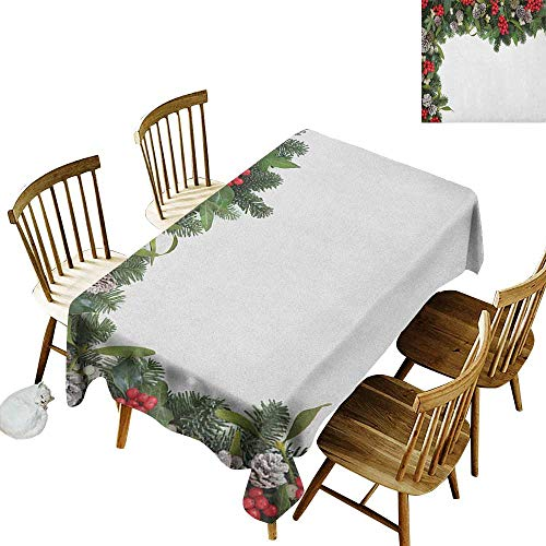 kangkaishi Iron-Free Anti-fouling Holiday Long Tablecloth Table decorationWinter Frame with Holly Ivy Mistletoe Spruce Fir and Pine Cones Arrangement Image W70 x L120 Inch Multicolor