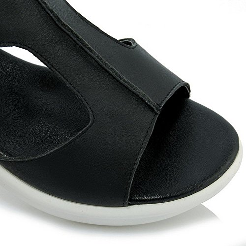 AllhqFashion Mujeres Velcro Puntera Abierta Mini tacón Cuero De Vaca Sandalia Negro