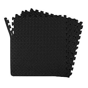 24-SQFT Dark Multi-purpose Floor Mat Anti-fatigue EVA Foam 6-tile Interlocking Tile with 10-boarder by Poco Divo