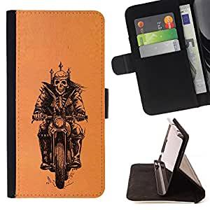 Jordan Colourful Shop - biker motorcycle orange crown skull For Apple Iphone 4 / 4S - < Leather Case Absorci????n cubierta de la caja de alto impacto > -