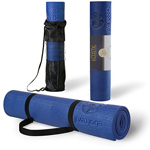 Jiva Non-Slip Yoga Mats With Free Carrying Strap and Bag ✮ 1/4 Inch Thick Memory Foam ✮ Best Yoga Mat for Pilates, Gym, or Home Exercises ✮ Eco-Friendly ✮ Easy for Travel ✮ 100%
