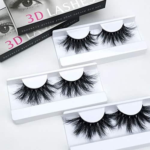 (Mink Eyelashes Luxury 25mm Fake Lashes 100% Siberian 3D Mink Lashes Natural False Eyelashes Cruelty-Free Fluffy False Eyelashes Long Reuse Sassy Lashes 3pairs/lot)