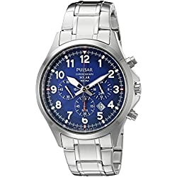 Pulsar Men's PX5037 Solar Chronograph Analog Display Japanese Quartz Silver Watch