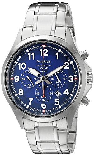 - Pulsar Men's PX5037 Solar Chronograph Analog Display Japanese Quartz Silver Watch