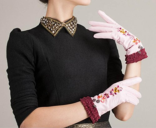 HOMEE Women'S Leather Gloves Sleeves Fleece Lined Short Inlaid Artificial Diamonds Black Blue Pink,Pink,Small by HOMEE (Image #2)