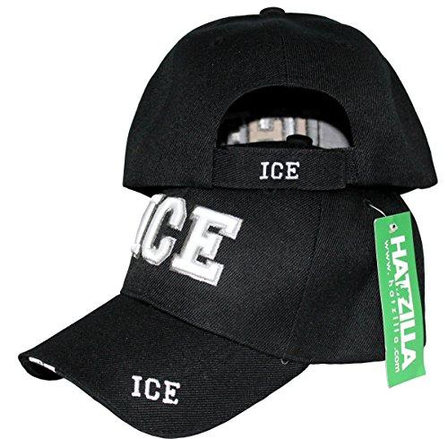 U.S. Immigration and Customs Enforcement (I.C.E) Police Unit Uniforms Baseball Cap Hat Black, 3D Lettering, Adjustable Police Uniform Caps