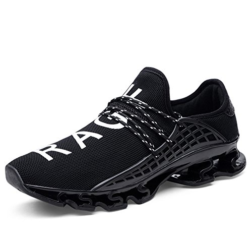 Hommes Chaussures de Course Respirant Mesh Lace-up Springblade Casual Mode Athlétique Marcher Grande Taille Sneakers Noir 1yxjvDyO
