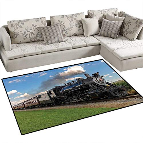 - Steam Engine Anti-Skid Rugs Vintage Locomotive in Countryside Scenery Green Grass Puff Train Picture Girls Rooms Kids Rooms Nursery Decor Mats 3'x5' Blue Green Black