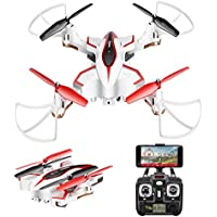 DoDoeleph Syma X56W Foldable RC Drone with FPV HD WiFi Camera Live Video Folding Remote Control Quadcopter for Kids and Adults - Altitude Hold Headless Mode One Key Return White