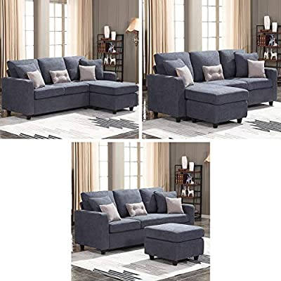 HONBAY Convertible Sectional Sofa Couch, L-Shaped Couch with Modern Linen Fabric for Small Space