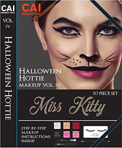10-Piece Makeup Set Halloween Hottie Costume FX Face Paint Make Up Kit for Adults, Miss Kitty Cat ()