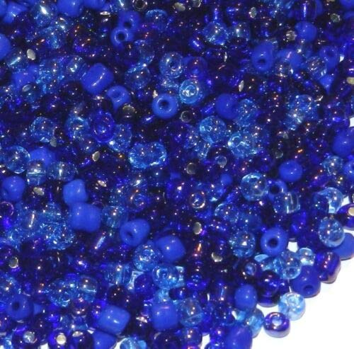 SBL1945 Blue Rhapsody 6/0 4mm Shades of Blue Glass Seed Bead Premium Mix 4oz Crafting Key Chain Bracelet Necklace Jewelry Accessories ()