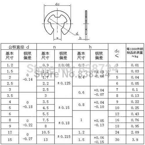 Ochoos 100pcs 7mm a2 70 304 Stainless Steel Split Baffle Ring Internal snap E Type circlips Ring for Shaft Fastener Hardware