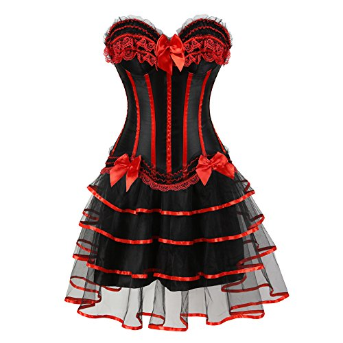 frawirshau Corset Dress Overbust Corset Skirt Set Moulin Rouge Showgirl Saloon Girl Costume Clubwear Light Red -