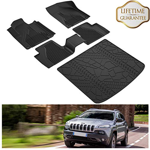 KIWI MASTER Floor Mats & Cargo Liners Set Compatible for 2014-2018 Jeep Cherokee Accessories Slush Liners Black All Weather Protector (Not Grand Cherokee) (Grand Cherokee Master)