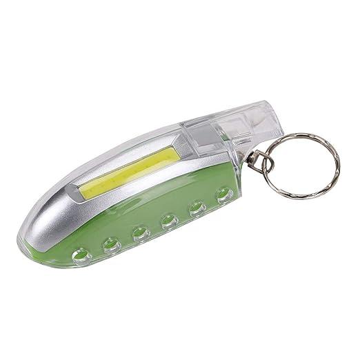 Tuipong Llavero con luz LED con silbato mini linterna, verde ...