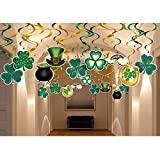 #7: St. Patrick's Day Party Decoration and Supplies Kit-30pcs Saint Pat Foil Swirl Ceiling Hanging,St Patrick Ornament for Home,Office,Dangling Irish Clover Hat Rainbow pot of gold Décor Whirl Streamer