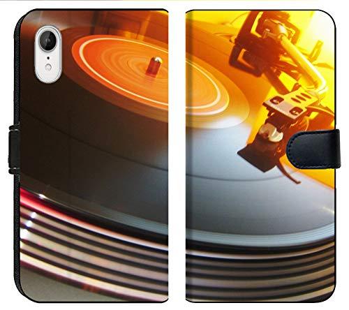 Apple iPhone XR Flip Fabric Wallet Case Image of Vinyl Music Record Turntable Disco Sound Retro Audio disc Player Black Vintage dj Party Needle