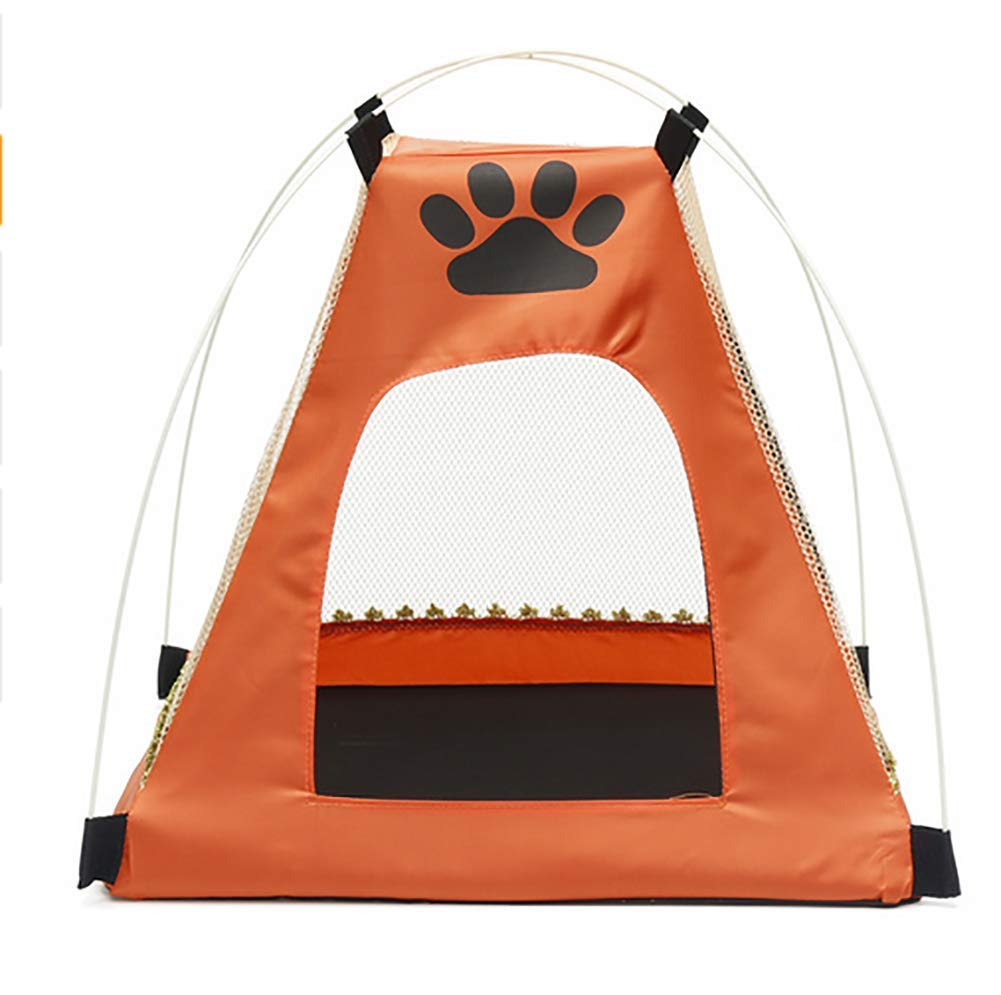 orange MEIQI Pet Teepee,Outdoor Cat Enclosures For Indoor Cats Portable Cat Tent, Cat Tunnel, and Playhouse (Play Tents for Cats and Small Animals)