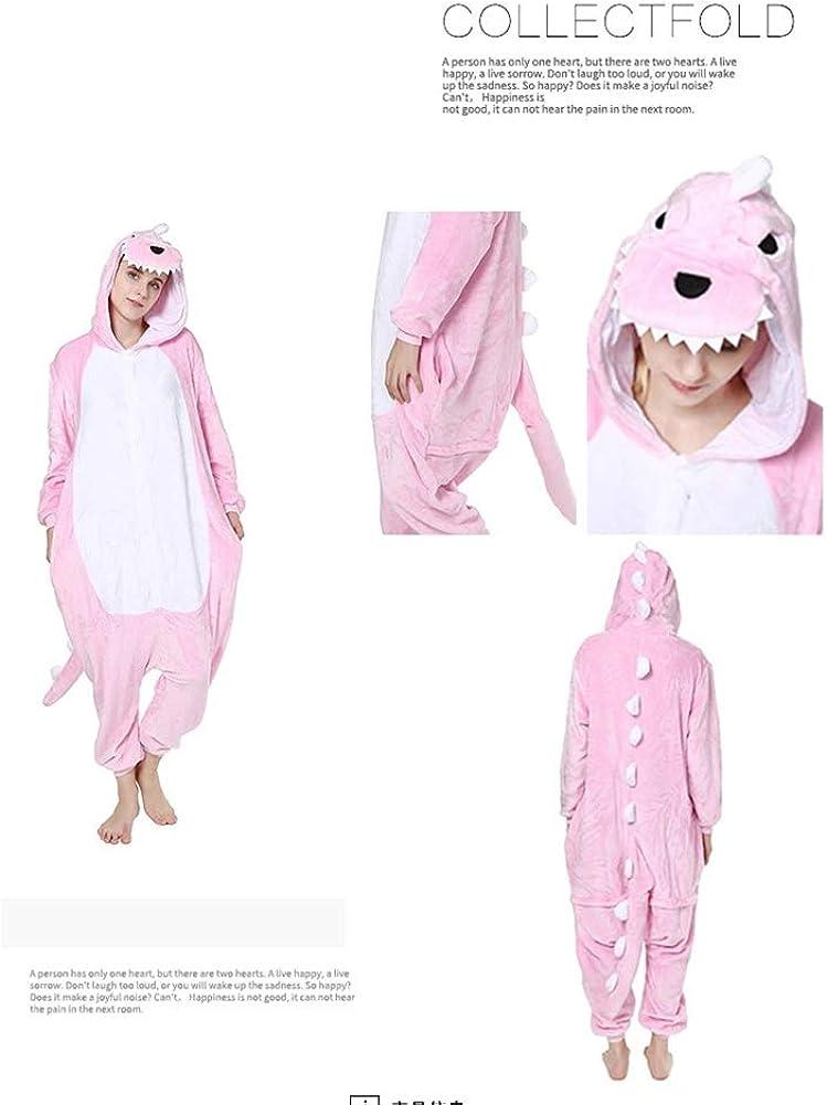 AEIL Tutina per Adulti Pigiama Donna Abbigliamento da Notte Caldo Abbigliamento per la casa Punto di Dinosauro Unicorno Animale Cartone Animato Tutina Pigiama di Flanella Tuta
