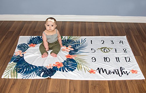 Premium Minky Fleece Monthly Baby Milestone Photo Prop Blanket| Thick Wrinkle & Fade Resistant|Best Baby Shower Gift. Perfect Way to Take Trendy Floral Infant & Newborn Photographs| 60'' X 40'' by Totminds (Image #7)