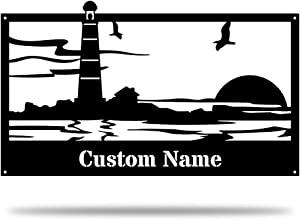 Pentacle new york company Personalized Lighthouse Metal Sign - Weatherproof Sign - Farmhouse Decor - Nautical Sign - Beach House Sign - Address Plaque - Outdoor Decor - Family Name Sign Home Decor