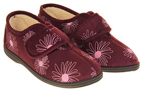 Footwear Studio Dunlop Womens Faux Suede Fleece Lined Touch Close Tab Slippers Size 4 5 6 7 8 Plum purple R2M7Aq