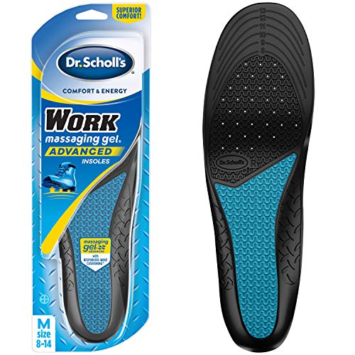 Dr. Scholl's WORK Massaging Gel Advanced Insoles (Men's 8-14) // All-Day Shock Absorption and Cushioning for Hard Surfaces (Packaging May Vary), 1 Count (Best Shoe Insoles For Standing On Concrete)