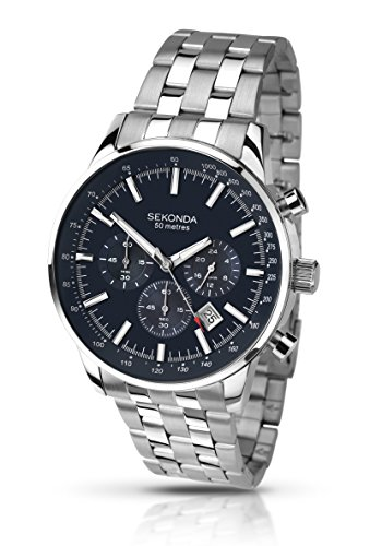 Sekonda Chronograph Black Dial Stainless Steel Bracelet Gents Watch 1008