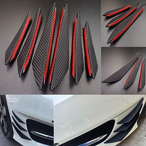 (YUSHHO56T Car Front Bumper Decors External Modified Car Sticker 6Pcs Universal Carbon Fiber Car-Styling Front Bumper Spoiler Vehicle Body Decor - Black )