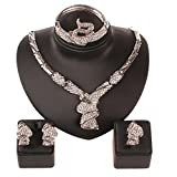 Women 18k White Gold Plated Africa Dubai Wedding Party Necklace Jewelry Set (White)
